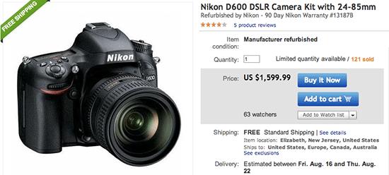 Deal: Refurbished Nikon D600 with 24-85mm Lens for $1,599 99