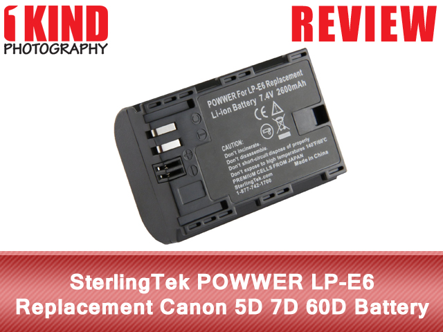 SterlingTek POWWER LP-E6 Replacement Canon EOS 5D 7D 60D Battery